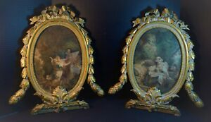 Highly Decorative Mezzotintsin Brilliantly Carved Gilt Wood Frames For Mirrors