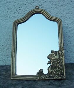 Vintage Brass Wall Mirror Picture Frame Hanging Stand Swans Ornate Art Deco Rare