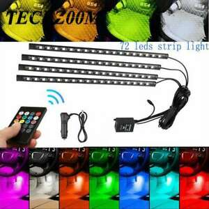 4x Led Car Interior Atmosphere Neon Light Strip Music Control Ir Remote Ht1