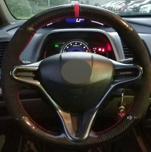 Car Sewing Carbon Fiber Suede Steering Wheel Cover For Honda Civic 8 2004 2011