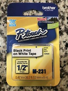 Brother P touch Label Maker Tape 1 2 Inch Black On White M 231 M231 M tape