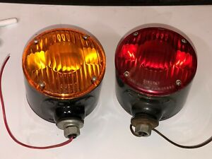 Nos Vintage Pair Signal Stat 8 Turn Signal Red Amber Light Truck Fender Ih Chevy