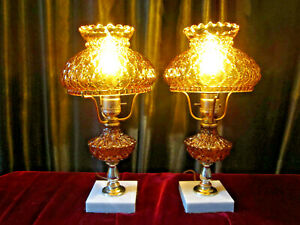 Vintage Working Amber Diamond Quilted Glass Lamp Pair Marble Base Italy Mcm