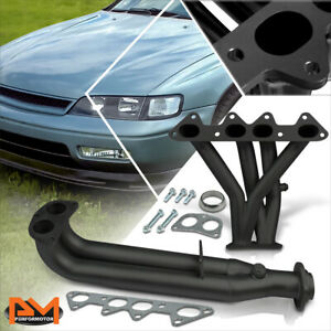 For 94 97 Honda Accord F22 2 2 Stainless Steel Black Coated 4 2 1 Exhaust Header