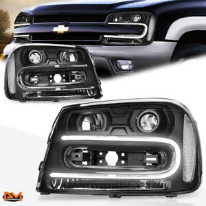 For 02 09 Chevy Trailblazer Led Drl Projector Headlight Black Housing Clear Side