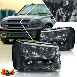 For 02 09 Chevrolet Trailblazer Smoked Housing Headlight Clear Side Corner Lamps