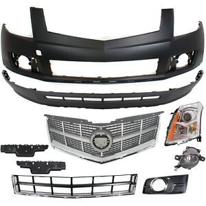 Bumper Cover Kit For 2010 2012 Cadillac Srx Front Left 9 Pieces