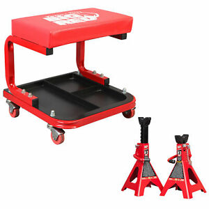 Torin Rolling Creeper Padded Seat Stool With Tool Tray And Steel Jack Stands