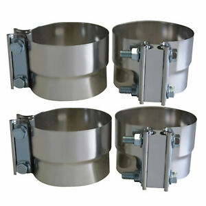 2 Pcs 4 Inch 101mm Lap Joint Clamp Heavy Duty Exhaust Band 304 Stainless Steel