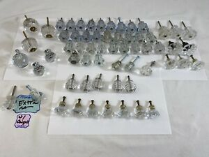 59pc Vintage Clear Glass Crystal Knob Lot Brass Drawer Pull Victorian Farmhouse