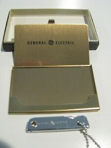 Vintage General Electric Ge Business Card Holder And Small Chrome Pocket Knife