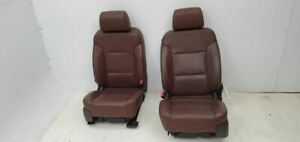 2015 Chevrolet Suburban Pair Of Front Brown Leather Bucket Seats Heated Cooled