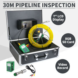 30m Sewer Waterproof Camera 7 Lcd Drain Pipe Pipeline Inspection System Dvr Usa