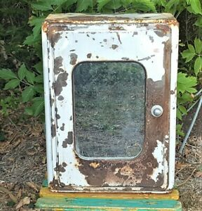 Distressed Pharmacy Medicine Cabinet Vintage French Metal Industrial Cupboard
