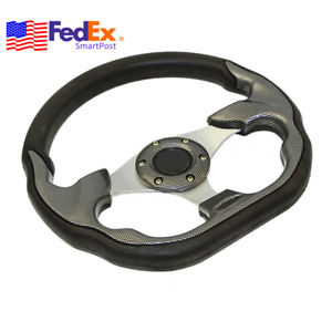320mm Racing Dish Car Steering Wheel Black Pu Leather Carbon Fiber Style Usa 1x