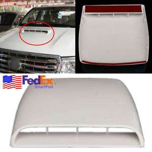 Universal Car Truck Hood Scoop Fake Bonnet Vent Air Intake Cover Trim White Usa