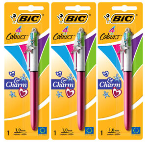 3 Bic 4 Funky Fun Ink Colour Pen Vibrant Effect Assorted Red Or Blue Barrel