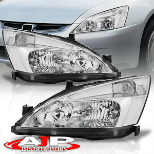 Chrome Clear Corner Replacement Headlights Lamp Lh Rh For 2003 2004 Honda Accord