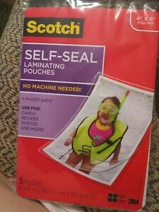 Scotch 3m Self sealing Laminating Pouches 4 X 6 5 Pouches Cards Photos More