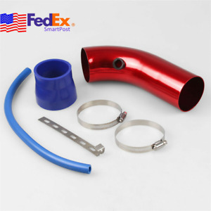 3 Car Cold Air Intake Kit Red Cnc Elbow Pipe W Clamp Boot Hose For Air Filter