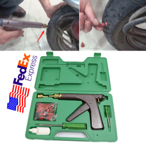 Tubeless Tire Puncture Repair Tool W Tire Mushroom Plugs Vacuum Gun Kit Us Ship
