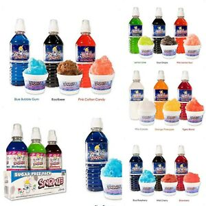 Snow Cone Syrup Snowie 3 pack Carnival Tropical Sour Berry Shave Ice18 flavores