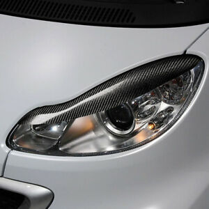 Real Carbon Fiber Headlight Eyebrow Eyelid Cover For Smart Fortwo W451 2007 2014