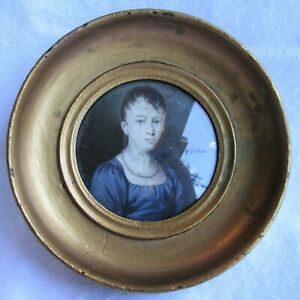 Antique Portrait Miniature Young Woman Hand Painted Early 1800 S Round Frame