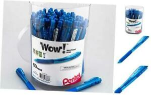 Pentel Wow Ballpoint Pen 1 0mm Med Line Blue Ink 60 pk Canister Blue