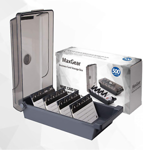 Abs Business Card Holder Box File Storage Index Organizer Rolodex For 500 Cards