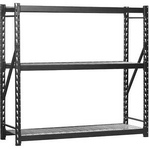 Steel Welded Storage Rack Black Adjustable Shelves Garage Yard And Garden