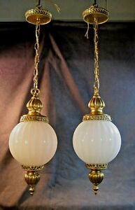 Mid Century Vintage Pendant Ceiling Light Fluted Glass Globe 2 Available