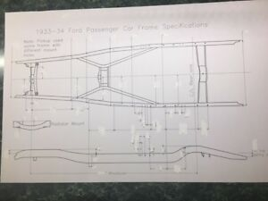 33 34 Ford Frame Dimensions 11x17 Hotrod Ratrod Streetrod Antique Custom