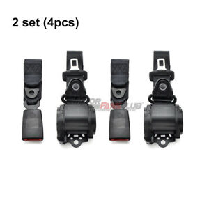 2x Fit For Jeep Cj yj wrangler 1982 1995 3 Point Retractable Seat Belts Black