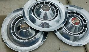 Qty 3 Vintage 1954 Chevy Belair 150 210 15 Hubcaps Wheel Covers D04