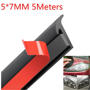 5m Car Rubber Sealing Strip Slanted T Type Seal Rubber Weatherstrip Edge Trim