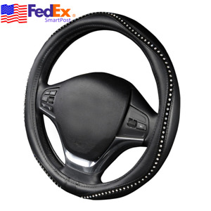 Crystal Bling 15 Inch Car Steering Wheel Cover Anti Slip Black Pu Leather Us 1pc