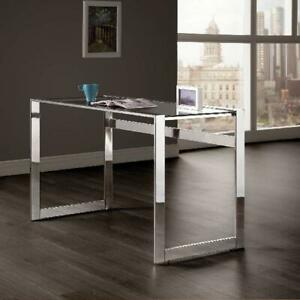 Coaster Company Glasstop Computer Desk Chrome