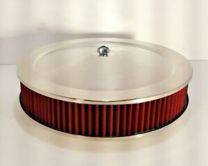Rpc 14 X 3 Red Washable Air Cleaner With Stainless Top And Flat Base Car boat