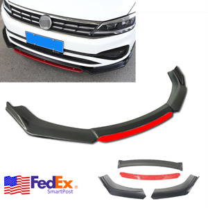 4pcs Universal Car Front Bumper Red Lip Splitter Winglet Body Kit Matte Black Us