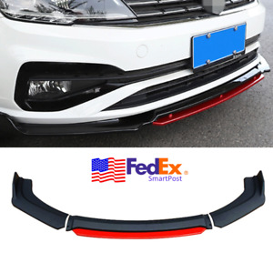 4x Universal Car Front Bumper Lip Spoiler Red Trim Splitter Body Kit Matte Black