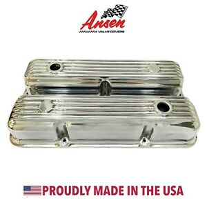 Ford Fe 390 427 428 Finned Short Valve Covers Polished Ansen Usa