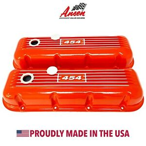 Big Block Chevy 454 Classic Valve Covers Orange Die Cast Aluminum Ansen Usa