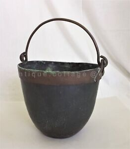 Antique 18thc Pennsylvania Copper Iron Dovetail Bucket Cauldron Handwrought Aafa