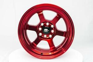 Mst Wheels Time Attack Rims 15x8 4x100 4x114 3 0 Offset Stepped Lip Ruby Red
