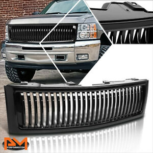 For 07 13 Chevy Silverado 1500 Vertical Fence Style Front Bumper Grille Black
