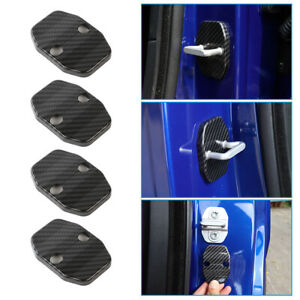4x Car Door Lock Cover Buckle Protector Kit For Dodge Charger 2010 Carbon Fiber