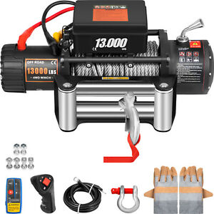 13000lbs Electric Winch 12v 85ft Steel Cable Off Road Utv Truck Towing Trailer