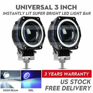 2x 3 Inch Led Work Light Hi Lo Beam Spot Pod Driving Offroad 12v 4wd Motor Car
