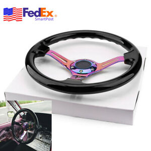 Neo Chrome 350mm Race Car Steering Wheel Abs Deep Dish Drifting Driver Handle Us